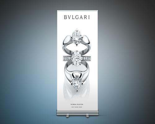 Jmac Graphics, Signage, Indoor, Fabric Printing, Office, Pull Up Banner, Bulgari