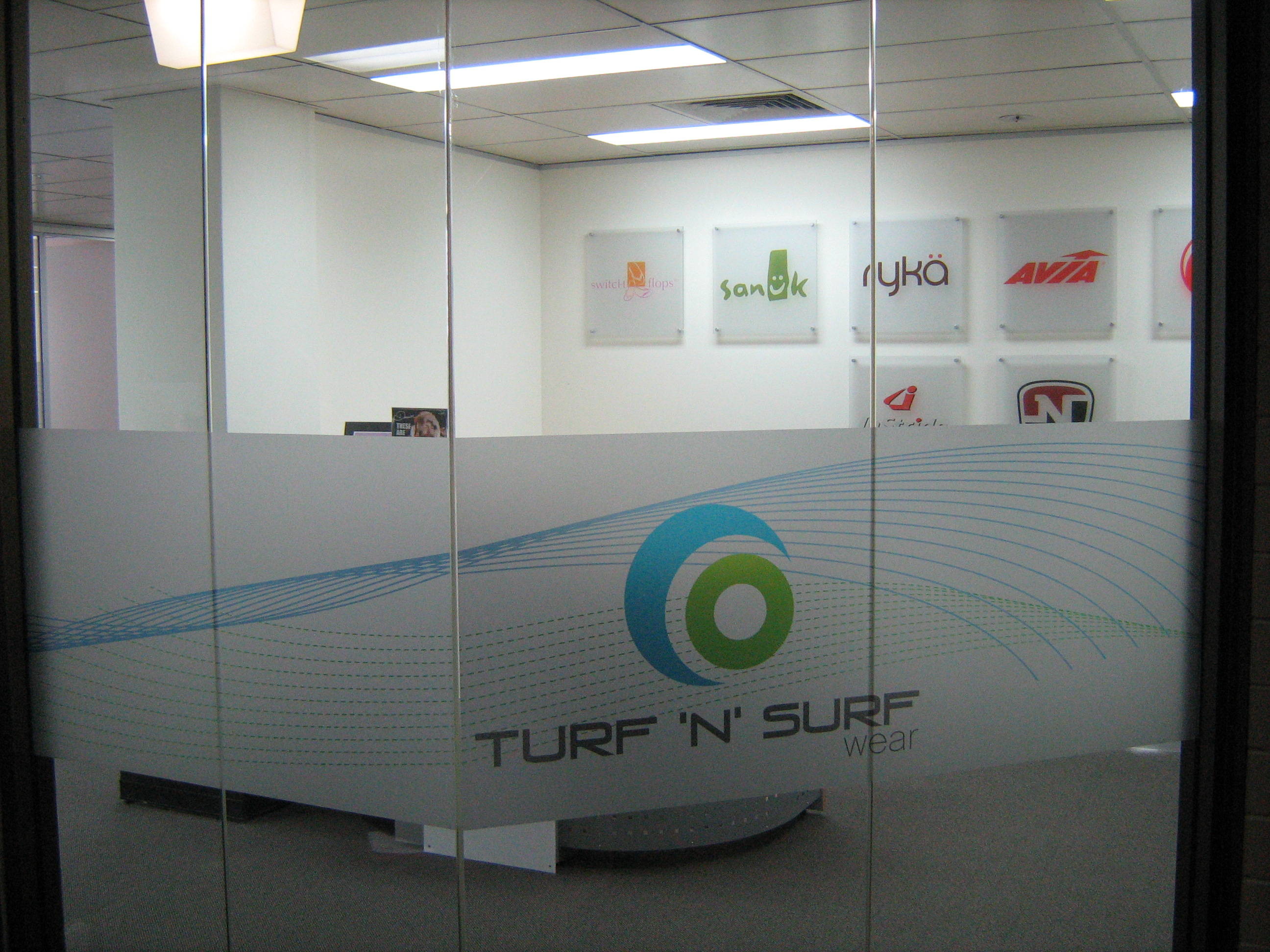 Jmac Graphics, Signage, Indoor, Office, Frosting, Turf n Surf