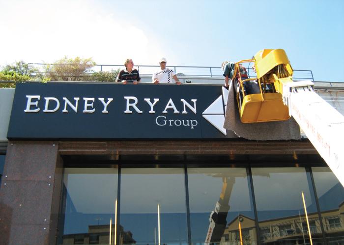 Jmac Graphics, Signage, Outdoor, Building, Lightbox, Installation, Edney Ryan Group