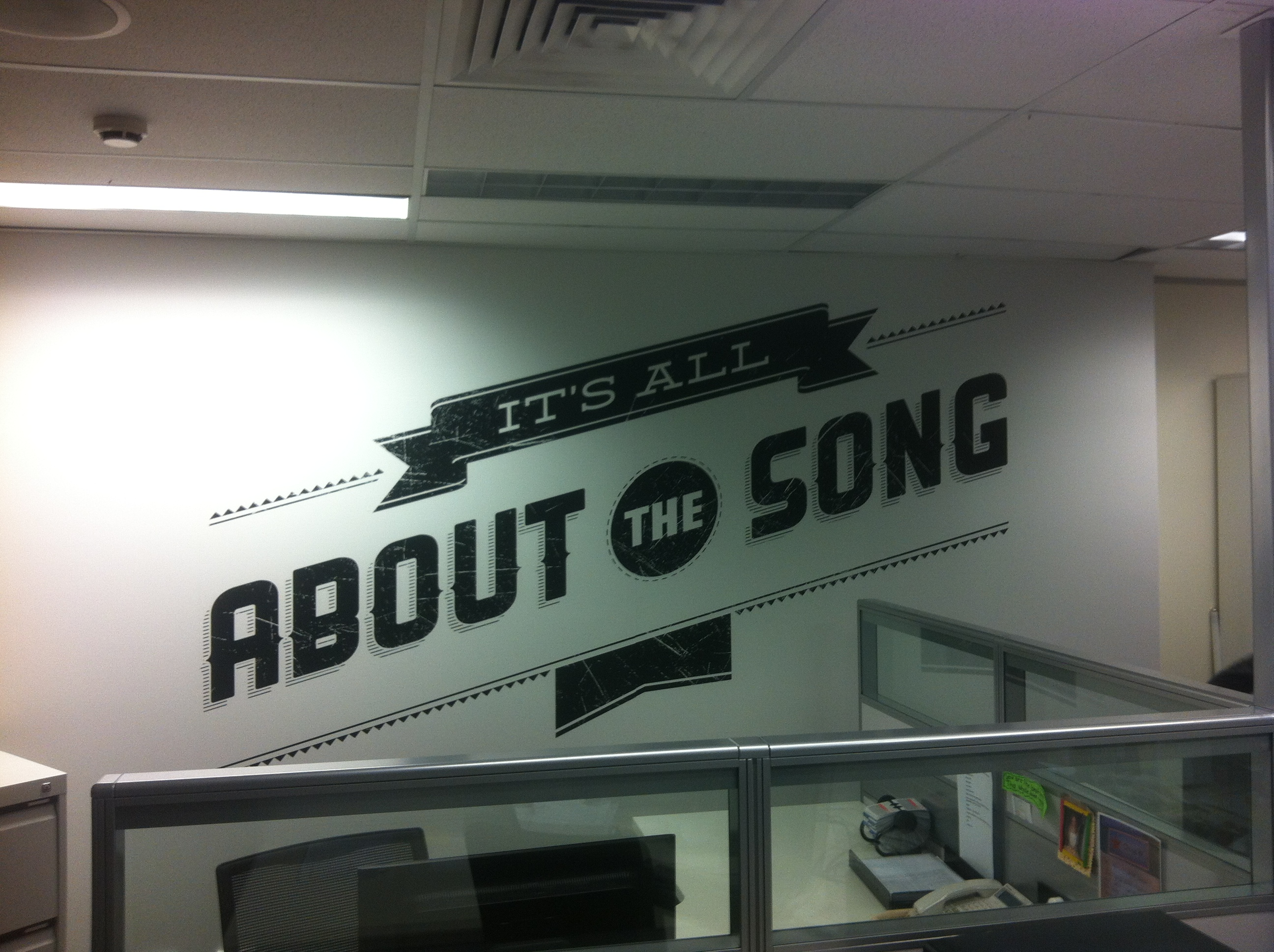 Jmac Graphics, Signage, Indoor, Office, Wall Graphics, Installation, About the Song