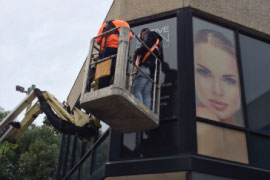 Jmac Graphics, Signage, Outdoor, Office, Window Graphics, One Way Vision, Installation, Active Skin
